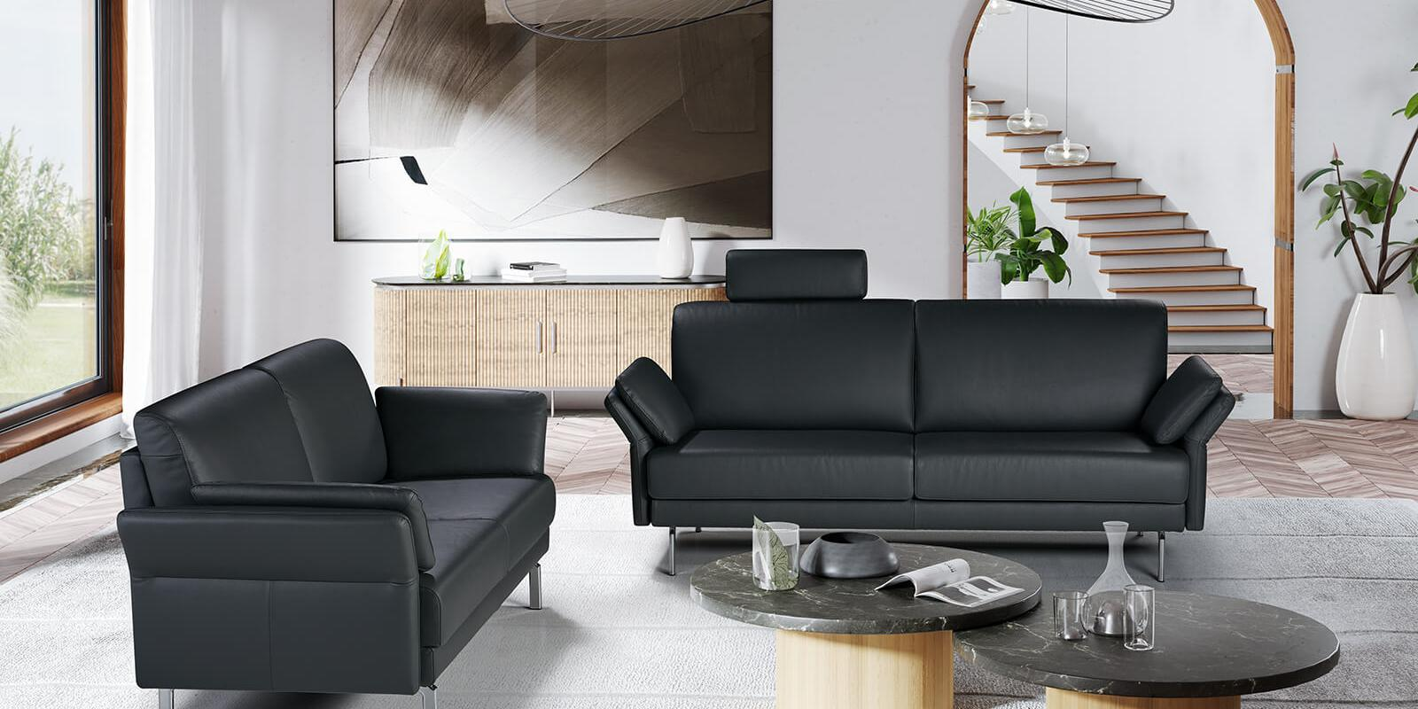 horst collection melide sofa design moebel schwarz leder